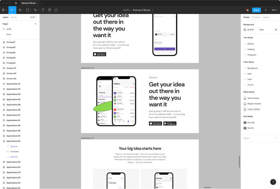 Startup web page duilder free Figma Sources