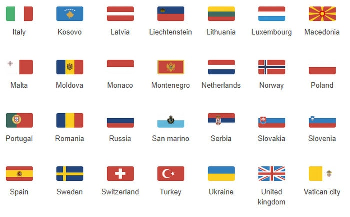 Flat Rectangular Europe Flag Icon Set