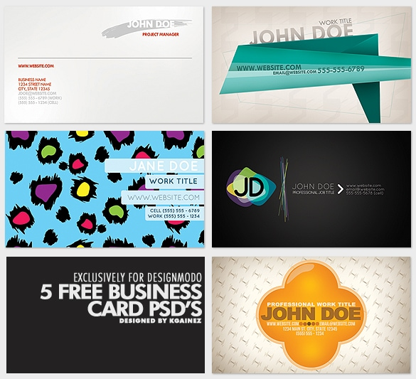 5 Business Card PSD's