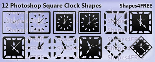 12 Photoshop Clock Shapes Square Clocks