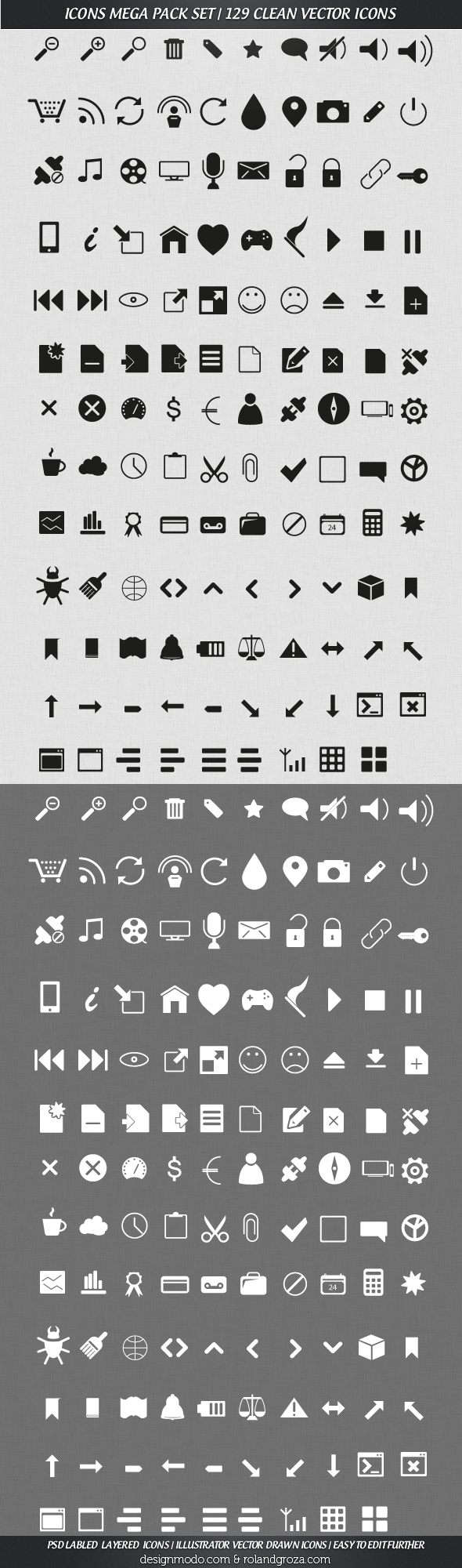 Free Mega Pack Vector Icons Set - 129 Clean Icons