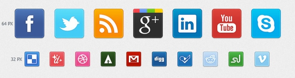 New Sets of Free Social Media & Bookmarking Icons