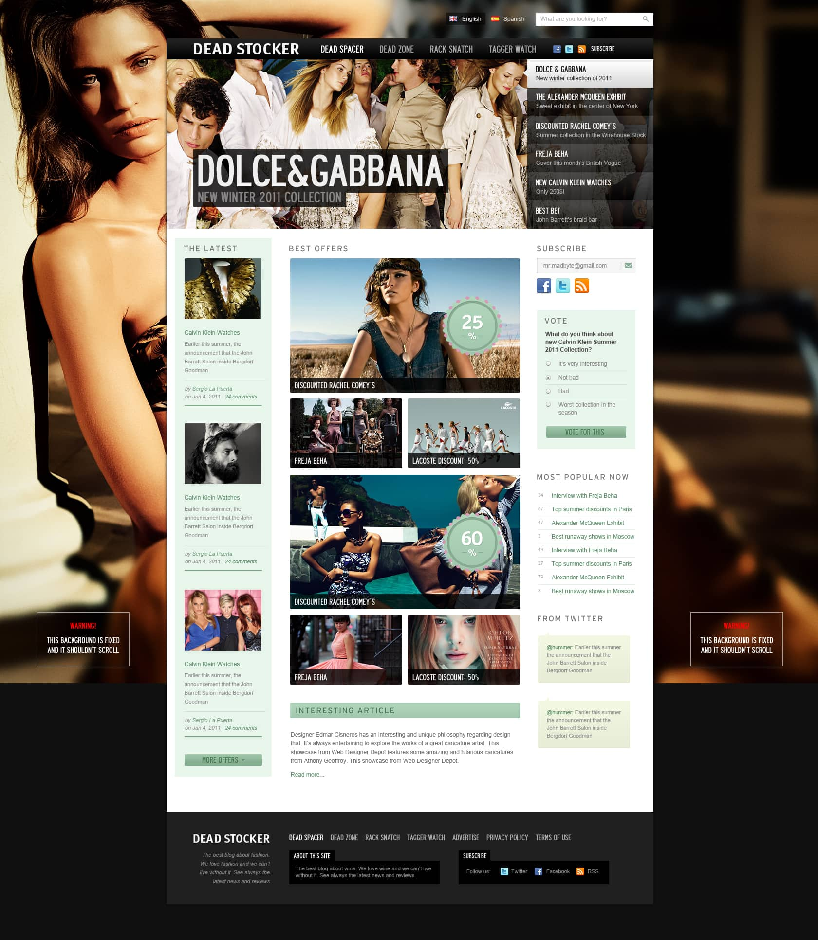 Dead Stocker Fashion Free Psd Website Template