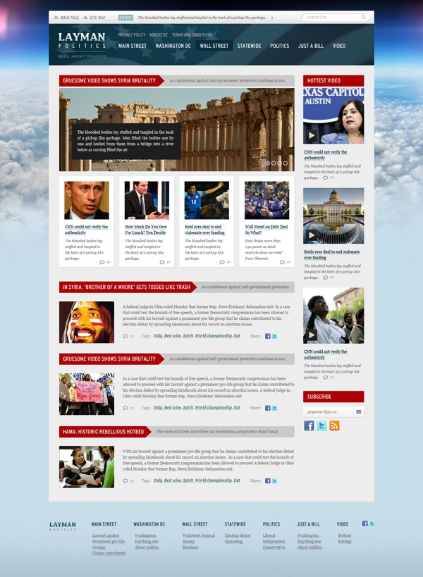 News and Politics Free PSD Website Template