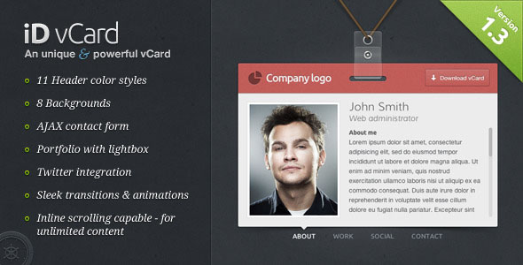 free virtual business card  vcard  html website templates