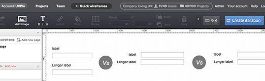 Efficient Wireframing of a Web Form