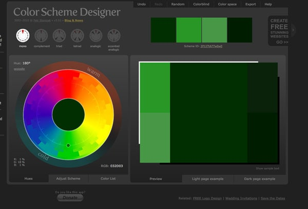 color scheme designer not only does color scheme designer employ a dark monotone color scheme it is a great tool select the type of palette you want - Color Scheme Designercom