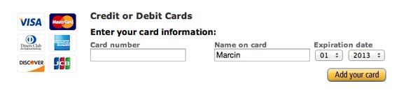 Amazon Credit Card UI Design Pattern