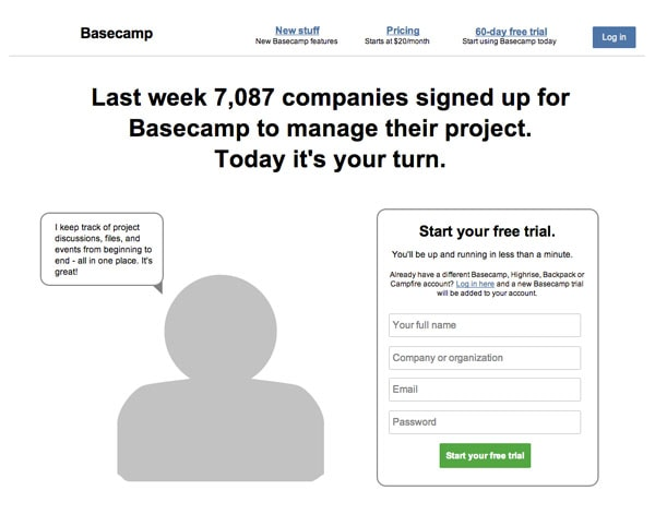 Basecamp Sign Up Wireframe Template