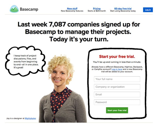 Basecamp Sign Up