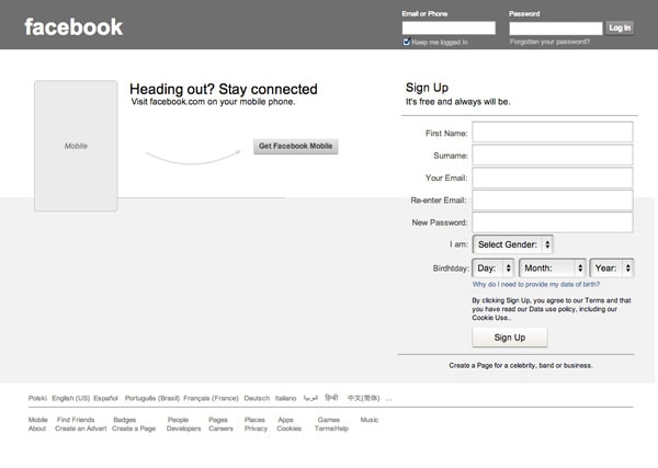 Facebook Sign Up Form Wireframe Template