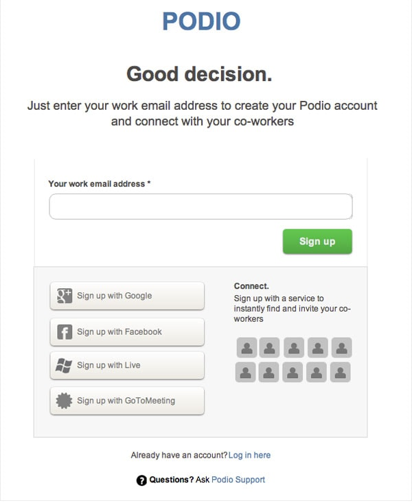 Podio Sign Up Form Wireframe Template