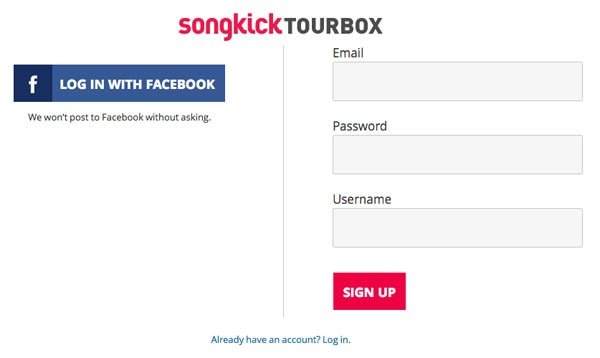 Songkick Sign Up