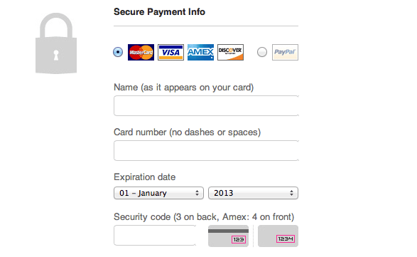 Threadless Credit Card UI Design Pattern
