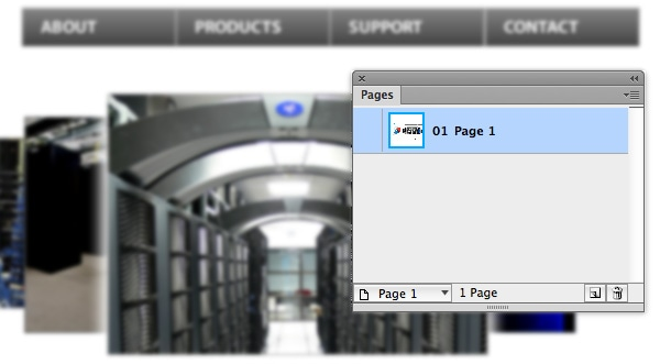 Pages panel open