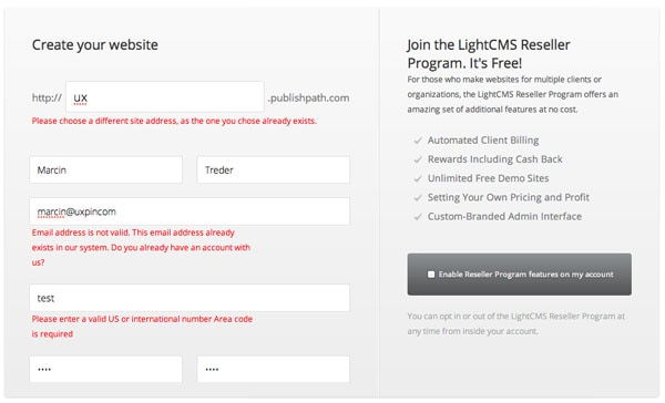 Light CMS Form Validation UI Design Pattern