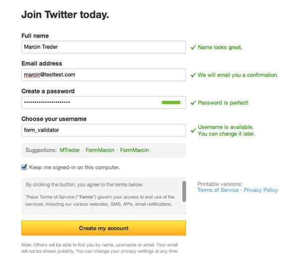 Twitter Form Validation Confirmation Message UI Design Pattern