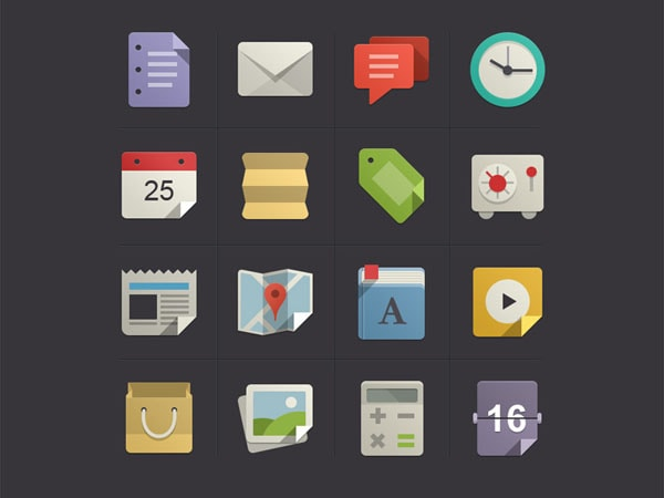 Flat Design Icons Set Vol. 1