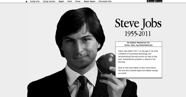 An online memorial for Steve Jobs