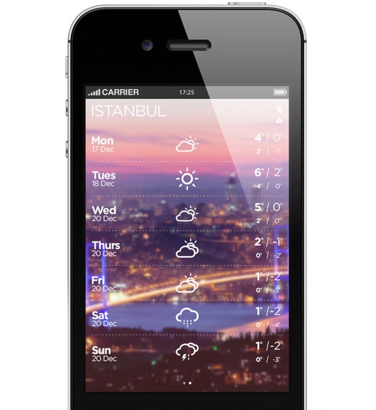 beautifully designed weather mobile apps designmodo. Black Bedroom Furniture Sets. Home Design Ideas