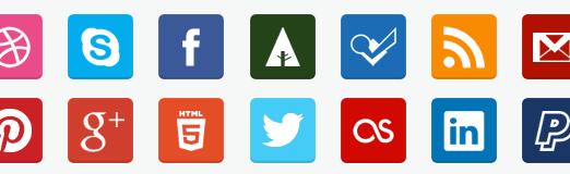 Free Flat Social Media Icons (PNG & PSD)