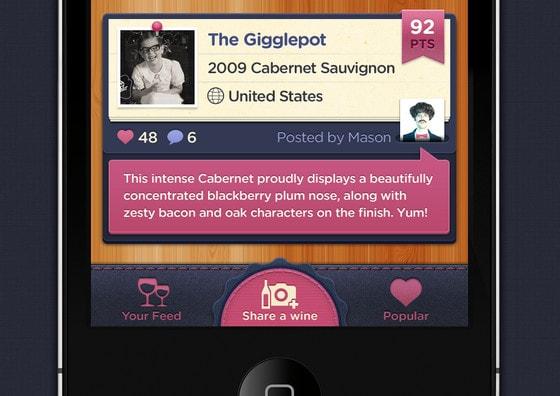 Social Wine iPhone Navigation UI Tab Bar by Mason Yarnell