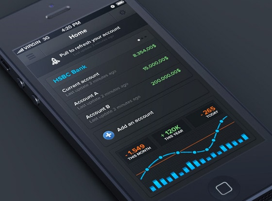 Sleek charts and graphs mobile apps featuring statistics for Best iphone design apps