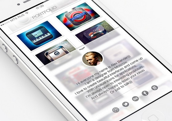 Mobile Portfolio iOS 7 Style by Alex Bender