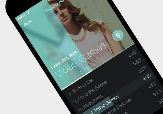 iOS7 Simple Music Player App by Kreativa Studio