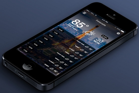 iOS7 Weather App v.2 by Dmitriy Haraberush