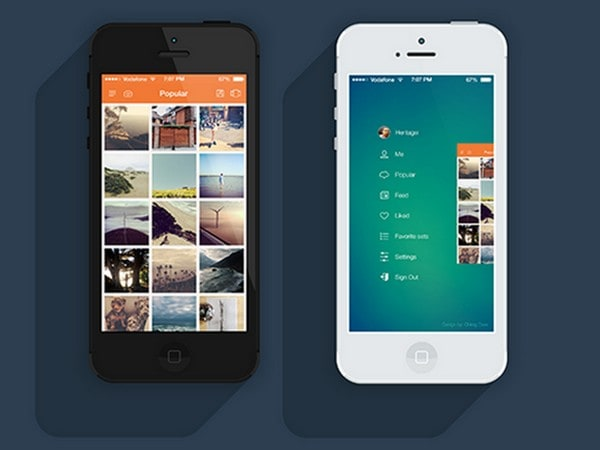 Eye catching mobile app interfaces with sleek gradient for Designing an app for iphone