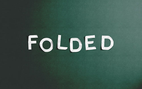 Folded paper text