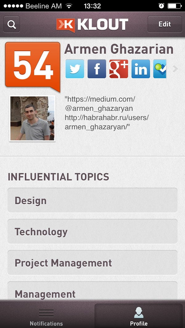 Klout app