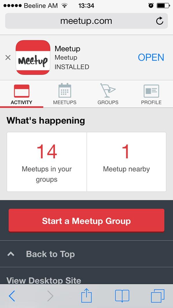 Meetup mobile