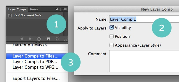 The Layer Comps Tab