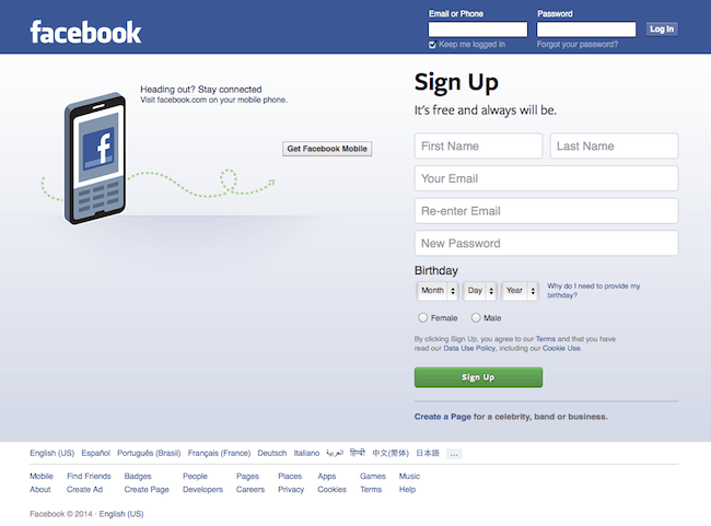 Facebook design today
