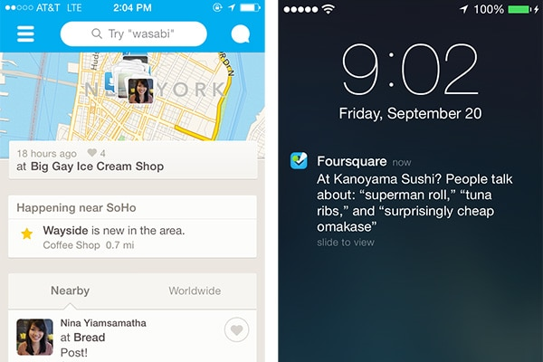 foursquare notification