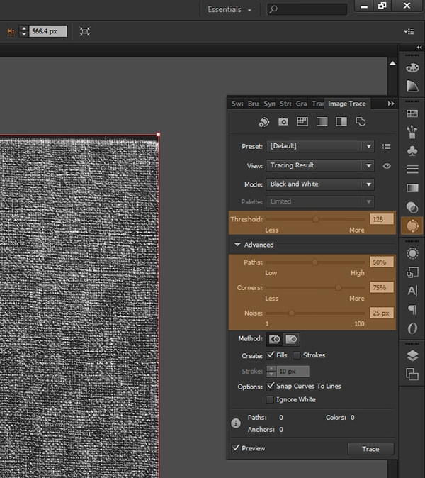 How to create vector textures in adobe photoshop and illustrator image trace ccuart Choice Image