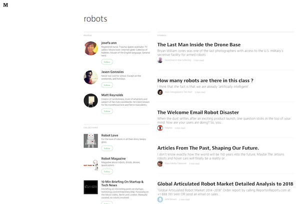 Medium's search page