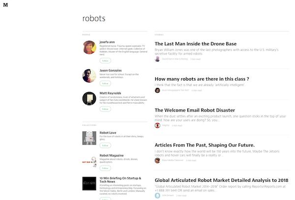 Medium's search page