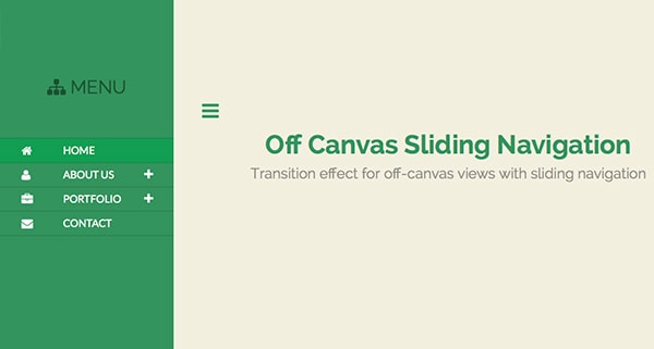 Off Canvas Sliding Navigation Menu