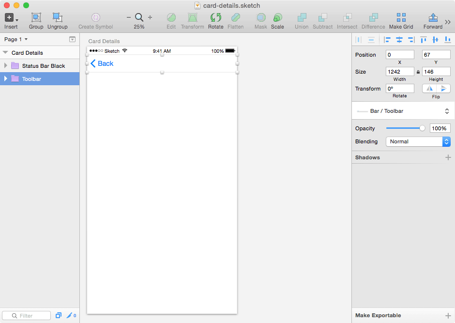 App Screen in Sketch 3