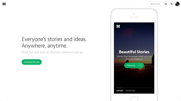 medium iphone app landing page