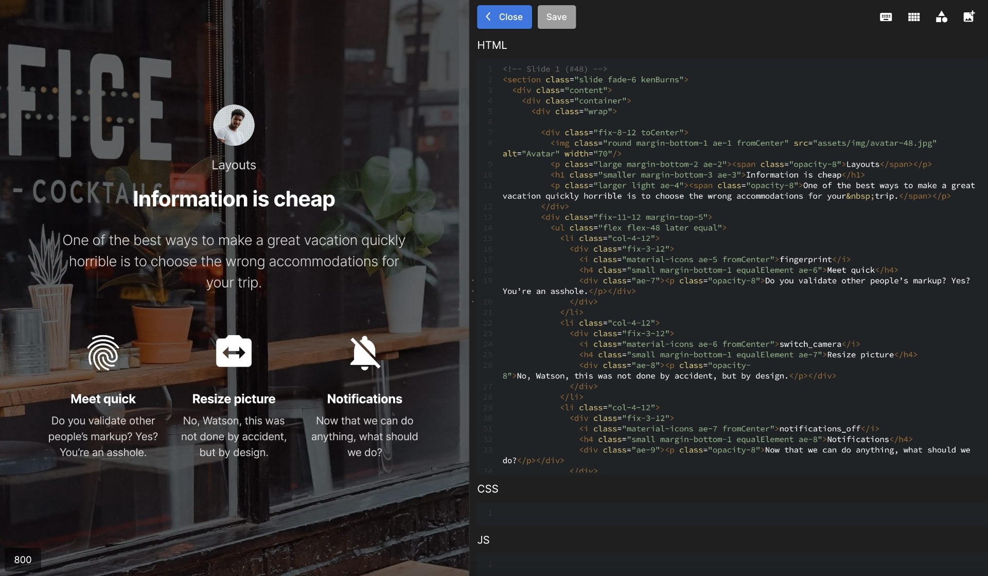 Slides Code Editor