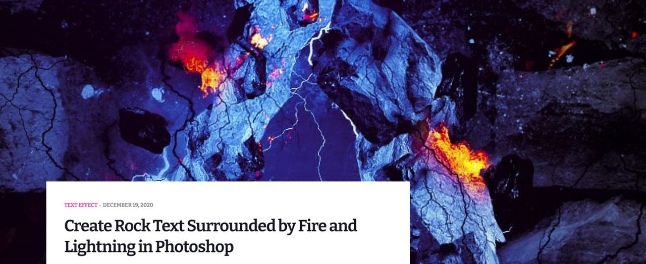 Create Rock Text Surrounded by Fire and Lightning