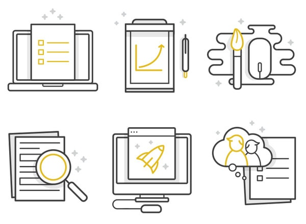 Icons for UX & research company by Diana Wieczorek