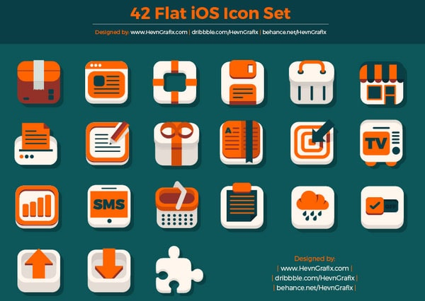 42 Flat iOS Icon Set by HevnGrafix Design
