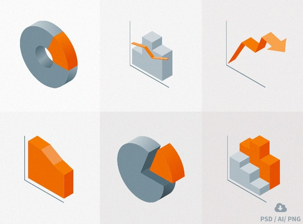 Isometric Material Icons vol 3 - Charts by Oxygenna