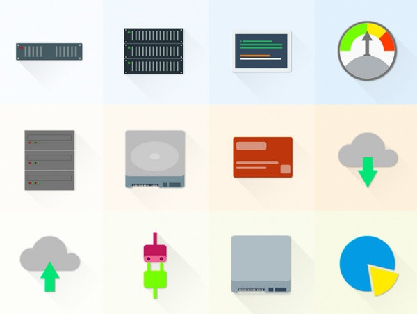 Set Of Material Design Hosting/Server Icons by Oxygenna
