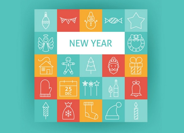 Happy New Year Line Art Icons by Anna Sereda